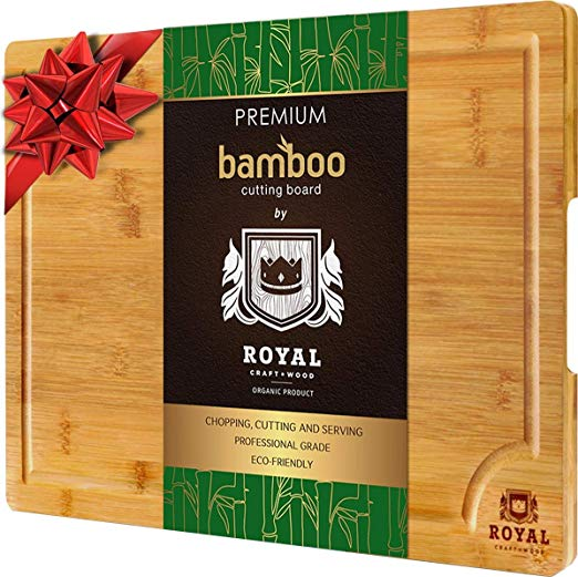 Royal Craft Wood EXTRA LARGE Organic Bamboo Cutting Board