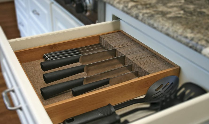 Deluxe KNIFEdock – In-drawer Kitchen Knife – Easily Identify Your Knives At A Glance. Frees Up Your Counter Space. Cork Composite Material Never Dulls Your Blades.