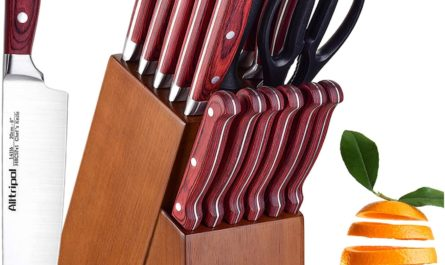 Knife Set, Premium 18-Piece Kitchen Knife Set with Block made of High Carbon German Stainless Steel with Knife Sharpener & 6 Steak Knives