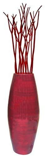 Uniquewise 27.5″ Tall Bamboo Floor Vase (Red)