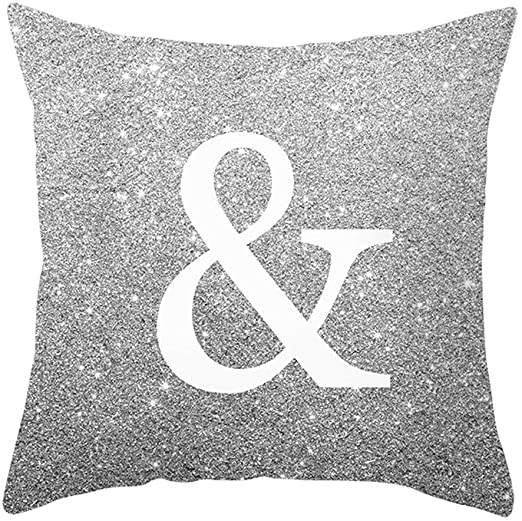 KEKEDA 18x18inch Silver English Alphabet Throw Pillow Covers Sofa Car Cushion Cover Home Decorative Pillowcase